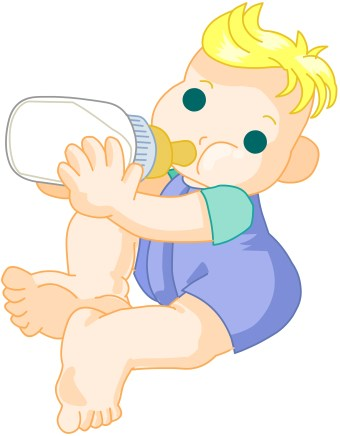 Clip art of a baby sitting up drinking milk from a baby bottle