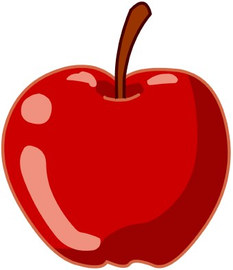 Clip art of a red apple with stem