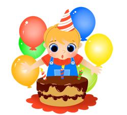 Birthday Boy with Cake and Candles clip art