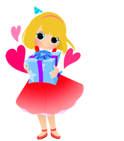 Birthday Girl with Gift clip art