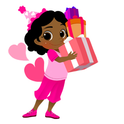 Birthday Girl with Gifts clip art