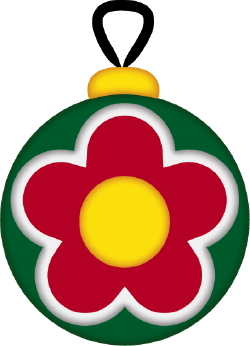 Clip art of a green Christmas tree ornament with a red flower on it.