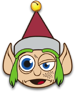 Clip art of a crazy christmas elf with green hair and a red jingle