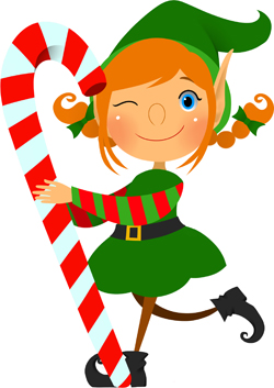 Clip art of an elf carrying a red and white candy cane and giving us a ...