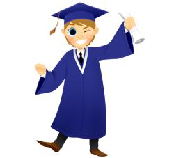 Graduation Boy Winking clip art