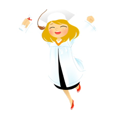 Graduation Girl Leaping clip art