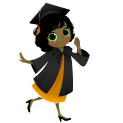 Graduation Girl Walking clip art