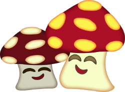 Happy Mushrooms clip art